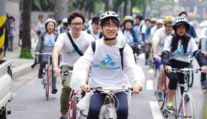 Fahrraddemo in Seoul zum Internationalen Tag der KDV 2017. Foto: Flickr/World Without War